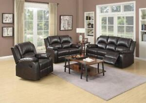 3 PC LEATHER AIR RECLINER SOFA SET 1398
