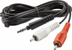 Insignia 6ft. AUX Audio 3.5mm To RCA Video Cable for Sound Bar / Stereo System / Smart Phone / Sub Woofer / PC. Music