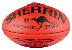 SHERRIN KB FULL SIZE RED LEATHER FOOTBALL - RRP $139