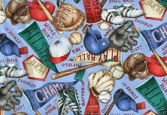 Baseball Equipment Quilt Cotton Fabric Bat Glove Home Plate Helmet Hap Ball BTHY