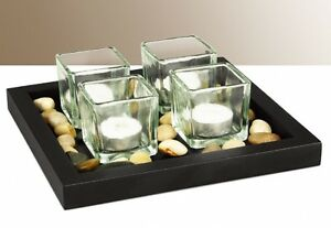 4 Square Glass Tea-Light Candle set - Beautiful Black tray with polished Stones