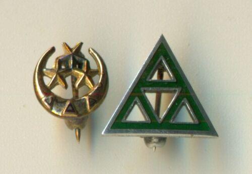 Delta Delta Delta sorority vintage silver pledge pin + mini crescent badge - WoW
