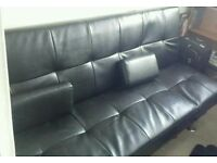 Leather Settee Sofa Bed Suite Black Venice Faux Chrome Feet Amazing CosyFurniture OTO