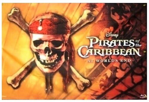 """DISNEY Pirates of the Caribbean III Flag At The Worlds End 36"""" x 23"""" TWN"""