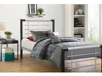 Black and silver single bed frame with mattress