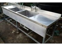 Heavy duty double stainless sink with double drainer