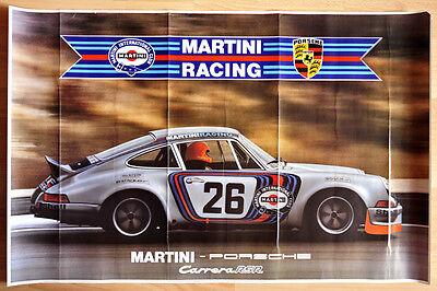 """orginal Plakat Renn Poster """"Martini Porsche"""" Klassik 1973 Porsche Carrera RSR"""