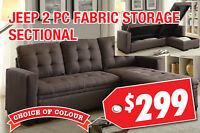 Jeep 2pc Fabric Storage Sectional, $299