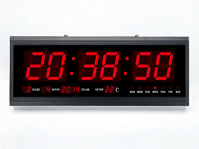 New Modern Large Big Digits LED Digital Calendar Wall Clock 48 X 18.5 X 5CM US