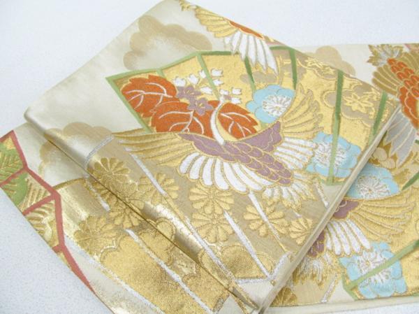 Japanese Kimono SILK FUKURO OBI CRANE TSURU BIRD SENSU OUGI (4096-530 YA)