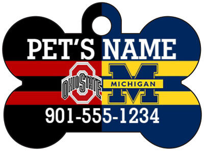 Ohio State/Michigan House Divided Pet Id Dog Tag Personalized w/ Name & Number