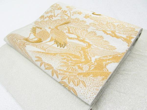 Japanese Kimono SILK FUKURO OBI TSURU BIRD CRANE (4139-1100)