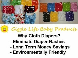 Giggle Life Cloth Diapers - Baby 7-36 lbs, Youth & Adult Sizes Peterborough Peterborough Area image 1