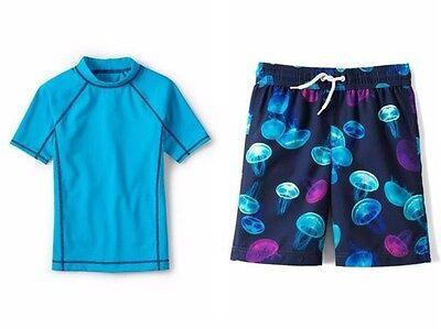 Lands End Jungen Shorts (LANDS' END Boys 2T Rashguard Shirt & Jellyfish Print Shorts Swim Set NWT)