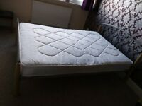 Double Metal and Wood Bed Frame with Ortho Mattress