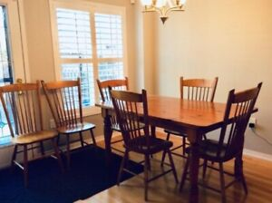 Dinning  Harvest Table (Solid Wood)  & 6 Chairs.