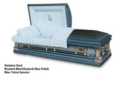 Brand New Stainless Steel Coffin Casket - Brushed Blue/ Monarch Blue Finish
