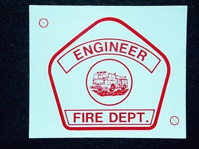 Avery Engineer - Fire Dept Vinyl Red Reflective Helmet Badge Decal Usa