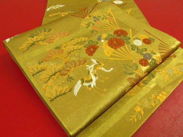 Japanese Kimono SILK FUKURO OBI SENSU TSURU BIRD CRANE PINE (FO4705-2920 YA)