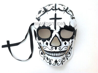 Day of the Dead Masquerade Dia de los Muertos Skeleton Sugar Skull Mask Wear -BW