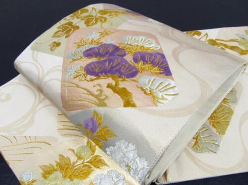 Japanese Kimono SILK FUKURO OBI BIRD CRANE TSURU Peony PLUM  (4274-1700)