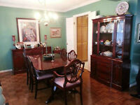 Complete Antique Dining Set-Table, Chairs, Hutch + Free Delivery