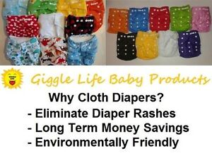 Giggle Life Cloth Diapers - Baby 7-36 lbs, Youth & Adult Sizes Cornwall Ontario image 1