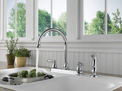 NEW - Peerless P299575LF-W Two Lever Handle Kitchen Sink Faucet Polished Chrome Modern Two Handle
