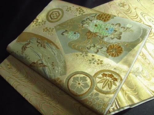 Japanese Kimono SILK FUKURO OBI FLOWER TSURU BIRD CRANE (4235-2000)