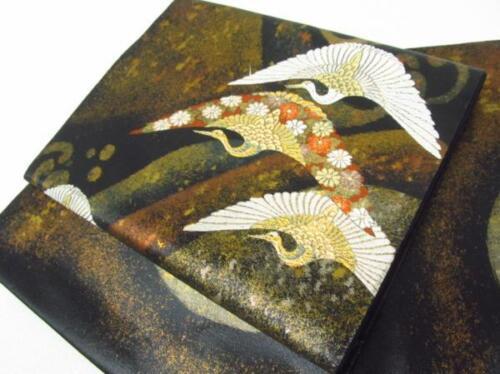 Jpanese Kimono SILK FUKURO OBI TSURU BIRD CRANE  (4180-3601)