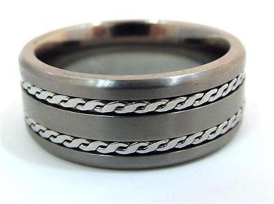 Crucible Titanium Satin Finish Men's Ring with Dual Rope Inlay Size 10