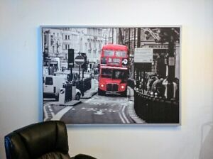 """Large Mounted Photo Picture With Frame """"London Bus Street Scene"""""""