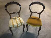TWO Antique Victorian Open Back Carved Wood Parlour Chairs 1860