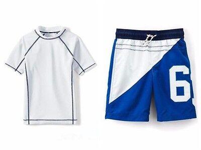 Lands End Jungen Shorts (LANDS' END Boys 2T Rashguard Shirt & Applique Shorts Swim Set NWT)