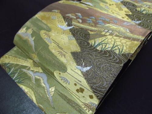 Japanese Kimono SILK FUKURO OBI TSURU BIRD CRANE PINE MATSU (4227-2001)