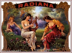 Radiana Beautiful Woman Vintage Cigar Box Crate Label Art Poster