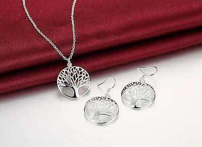 cute Charms Tree Silver Fashion wedding Women earring necklace set hot 925