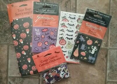 New Kids Halloween Treat Bags Confetti Mini Sheets Stickers Pack Scrapbook Party