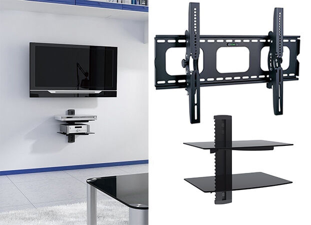 "Tilt TV Wall Mount with Shelf Double DVD Shelves for 60"" 65"""