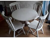 White and Brown Table & 4 Chairs