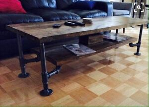 Industrial style coffee tables, console tables, bar carts