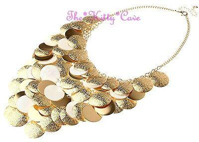 Big Ethnic Layered MOP Shell Gold Discs Waterfall Statement Bib Choker Necklace