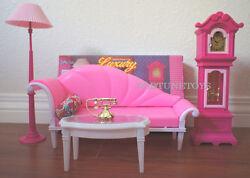 GLORIA FURNITUE DOLLHOUSE LIVING Room LUXURY W/FLOOR CLOCK + LAMP SET FOR barbie