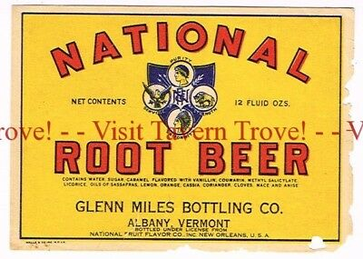 1920s VERMONT Albany Glenn Miles Bottling National Root Beer Label New Orleans