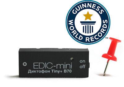 Guinnes Record!!! Voice Recorder Edic-mini Tiny+ B70 150Hr 4GB Spy Bug Smallest