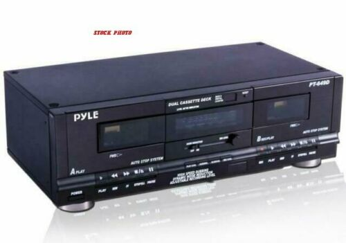 Pyle PT649D Dual Stereo Cassette Deck Player System for Music & Audio Recording