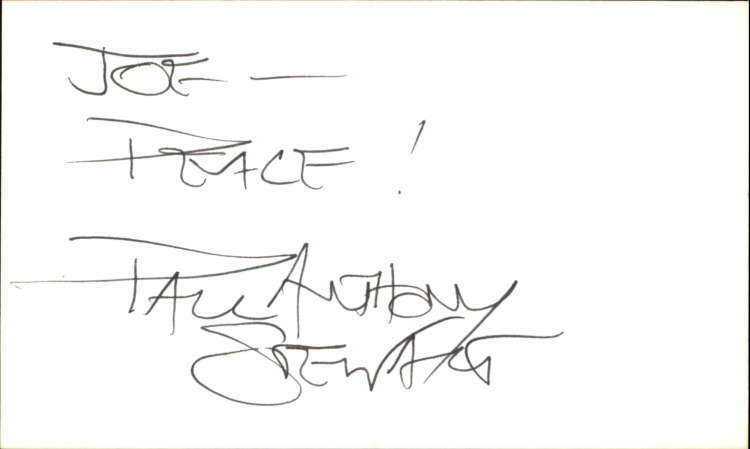 "Paul Anthony Stewart Actor The Guiding Light Signed 3"" x 5"" Index Card"