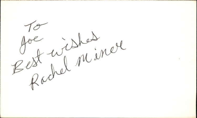 "RACHEL MINER GUIDING LIGHT Signed 3""x5"" Index Card"