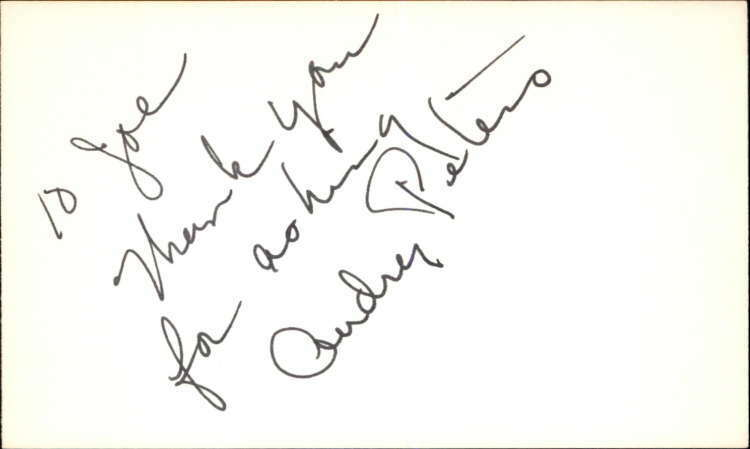 """AUDREY PETERS GUIDING LIGHT Signed 3""""x5"""" Index Card"""