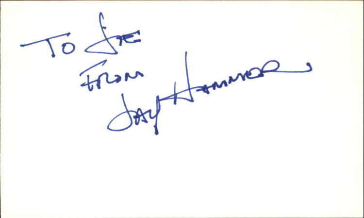 "JAY HAMMER GUIDING LIGHT Signed 3""x5"" Index Card"